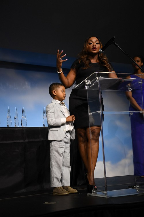 ATLANTA, GA - APRIL 22:  TV personality Phaedra Parks and Ayden Nida onstage at 2016 Emerging Leaders Awards and Scholarship Gala at Delta flight Museum on April 22, 2016 in Atlanta, Georgia.  (Photo by Paras Griffin/Getty Images)