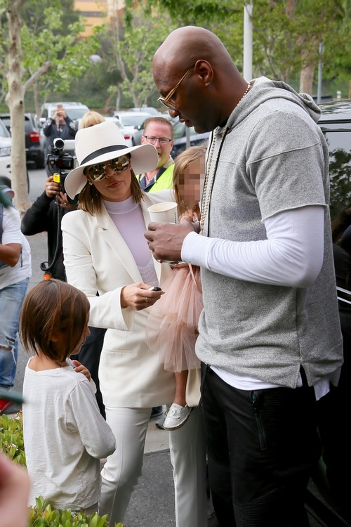 The Kardashian Family and Lamor Odom leaving an Easter Sunday service