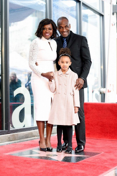 HOLLYWOOD, CA - JANUARY 05:  (L-R) Viola Davis, Julius Tennon, and Genesis Tennon attend a ceremony honoing Viola Davis with a star on the Hollywood Walk of Fame on January 5, 2017 in Hollywood, California.  (Photo by Matt Winkelmeyer/Getty Images)