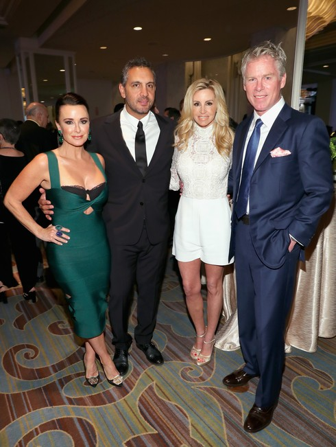 BEVERLY HILLS, CA - MARCH 11: (L-R) Actress/television personality Kyle Richards, Real Estate Agent/television personality Mauricio Umansky, television personality Camille Grammer and Dave Dubin attend the Family Equality Council's Impact Awards at the Beverly Wilshire Hotel on March 11, 2017 in Beverly Hills, California. (Photo by Rich Polk/Getty Images for Family Equality Council )