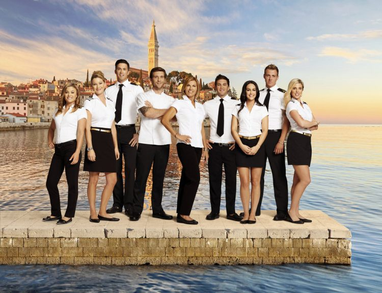 BELOW DECK MEDITERRANEAN -- Season:2 -- Pictured: (l-r) Malia White, Hannah Ferrier, Bobby Giancola, Adam Glick, Sandy Yawn, Wes Walton, Lauren Cohen, Max Hagley, Bugsy Drake -- (Photo by: Virginia Sherwood/Bravo)