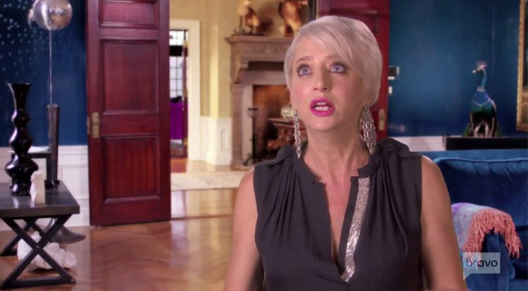 Dorinda-Medley-Drop-Earrings-Black-Plunge-Neckline-TH-RHONY