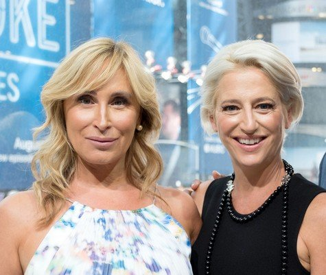 NEW YORK, NY - AUGUST 23: TV personalities from 'Real Housewives of New York' Sonja Morgan (L) and Dorinda Medley visit 'Extra' at their New York studios at H&M in Times Square on August 23, 2017 in New York City. (Photo by Paul Zimmerman/Getty Images for Extra)