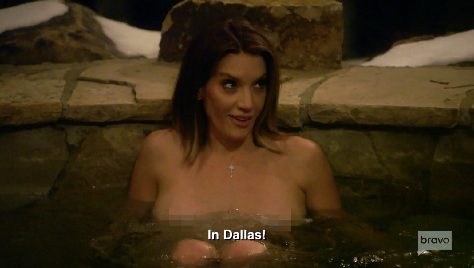 Cary gets naked in Kam's hot tub