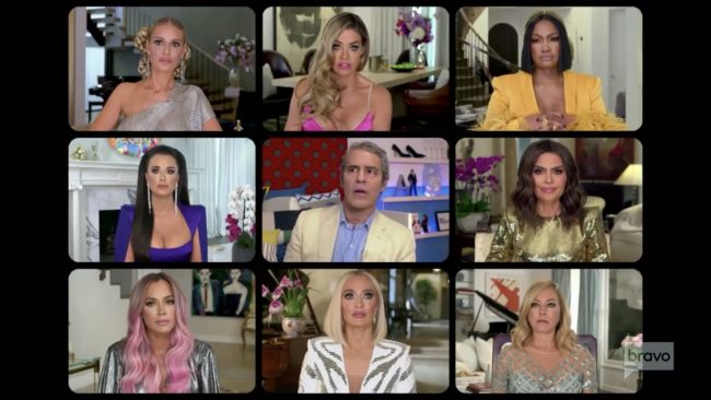 Dorit Kemsley Denise Richards Garcelle Beauvais Kyle Richards Andy Cohen Lisa Rinna Teddi Mellencamp Erika Jayne Sutton Stracke Real Housewives Of Beverly Hills