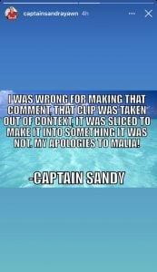 Captain Sandy apology Malia White