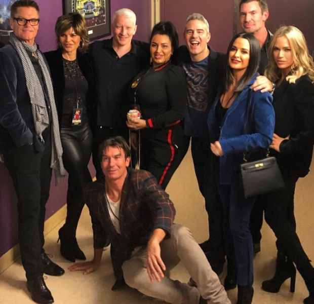 Harry Hamlin, Lisa Rinna, Anderson Cooper, Mercedes Javid, Andy Cohen, Kyle Richards, Jeff Lewis, Teddi Mellencamp Arroyave, & Jerry O'Connell