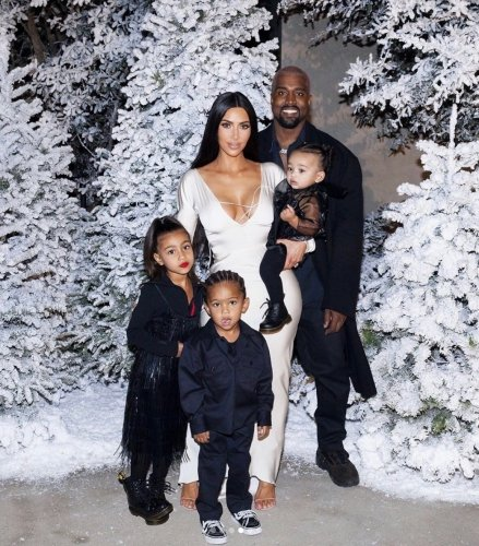 Kim Kardashian & Kanye West With Their Kids